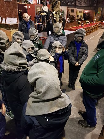 War Years Remembered (War Museum): The boys trying on some gas hoods