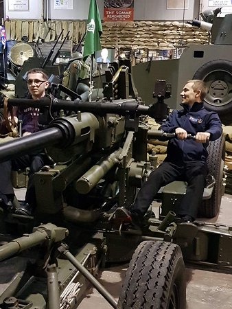 War Years Remembered (War Museum): 2 of our leaders having a go on the anti aircraft gun
