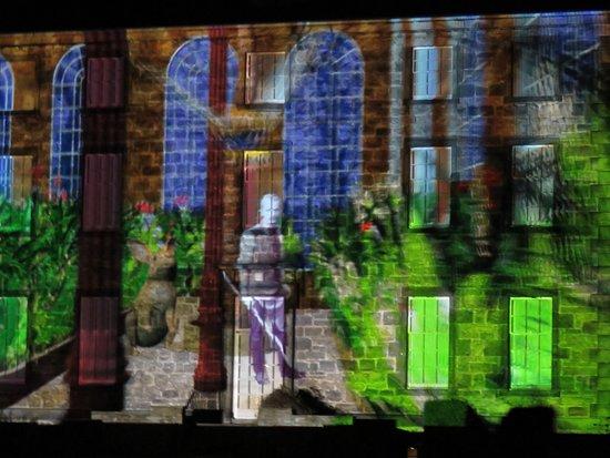 laser show against a building
