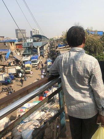 View of the slum from the overhead crossing bridge