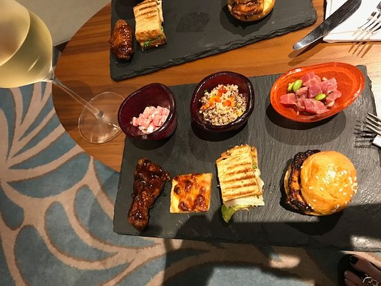 Snack platter in the business lounge with delicious assortment.