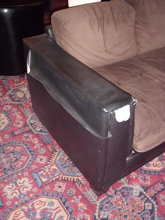 """FURNITURE IN RECEPTION - LIKE A SQUAT - 3 PIECES TORN & """"REPAIRED"""" - WHERES THE MANAGER !!!!!!"""