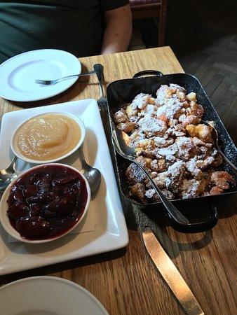 03-09-18 Kaiserschmarrn with plum sauce and apple sauce.  Euro 8,90 per person.  A very sweet, rich dessert.