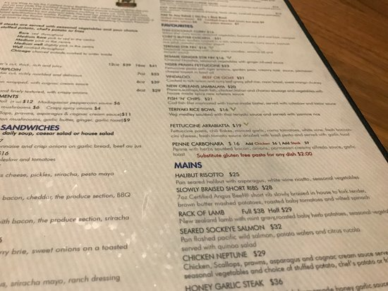 XS Lounge and Grill: Pricy menu