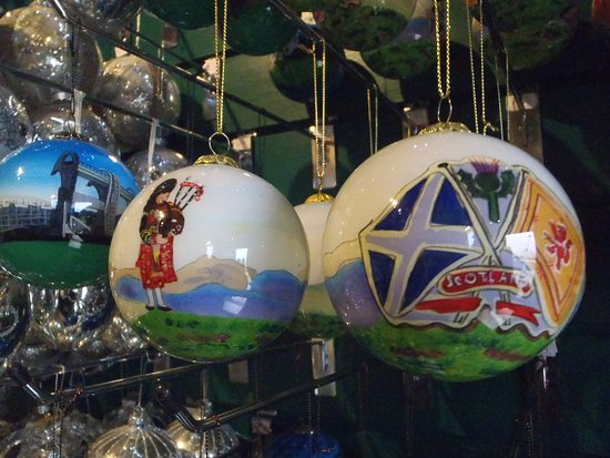 The Olde Christmas Shoppe: Hand Painted Glass bauble - Lone Piper & Crossed Scottish Flags