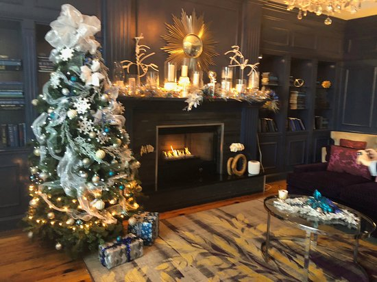 Fireplace with holiday