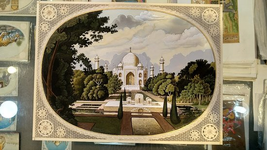 Paintings in miniature mughal style on paper, silk and bone