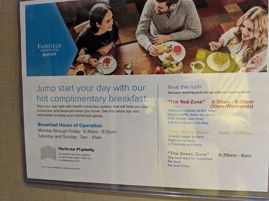 Fairfield Inn & Suites Ocean City: Breakfast schedule