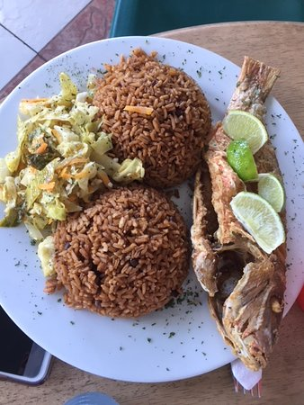 Snapper with rice and peas.