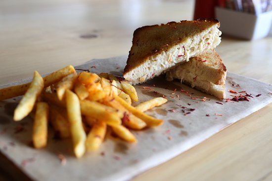 Chicken mayo toastie served with fries