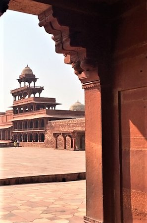 Panch Mahal through a doorway. This 5 story structure has no walls!