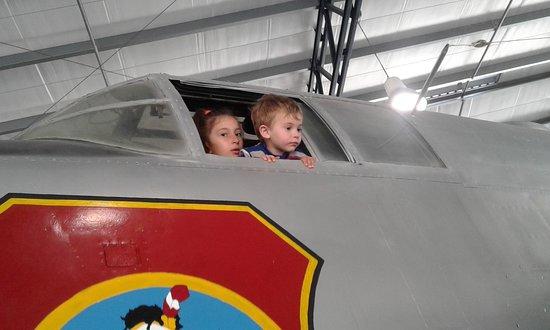 Se pudieron subir a una cabina de un avión.
