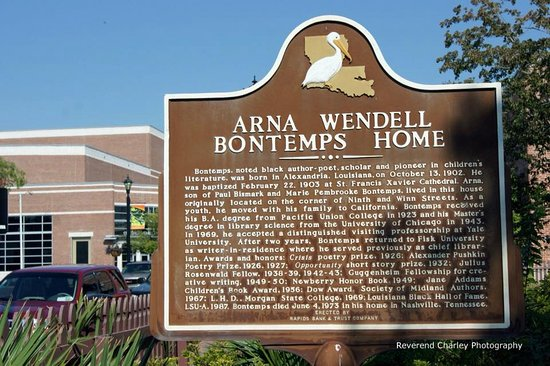 Alexandria, LA: The birth place of Arna Wendell Bontemps. Harlem Renaissance writer and poet.