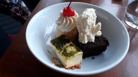 Whitby's Restaurant & Bar: Cheesecake, pavlova, & chocolate log.