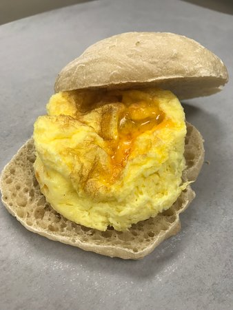 Egg, bacon and cheese sandwich on our ciabatta roll.