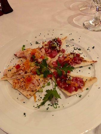 amuse-bouche of tuna and shrimp
