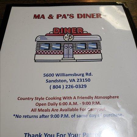 Ma Pa S Diner Sandston Restaurant Reviews Photos Phone Number Tripadvisor