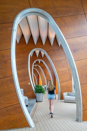 "Karibia: We nicknamed this cool hallway aboard the Celebrity Edge ""the shark walk""."