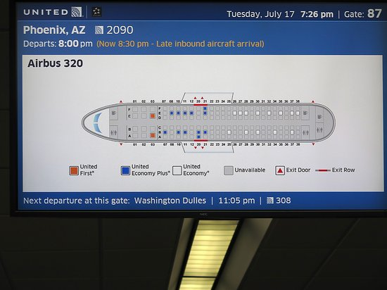 United Airlines: UA2090 SFO to PHX - SFO Airport - West Pier of T3 - Monitor at Gate 87 - Seldom See Empty Seats Like That!