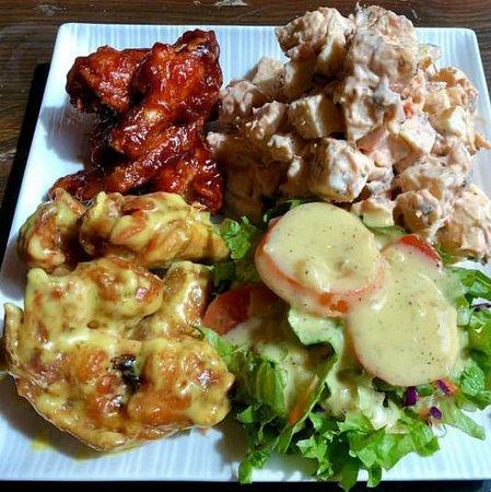 1)2 Honey mustard 1/2 Honey BBQ with breadfruit salad.