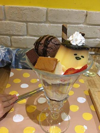 Taipei, Taiwan: Chocolate ice-cream with pudding and soft cake in fresh cream