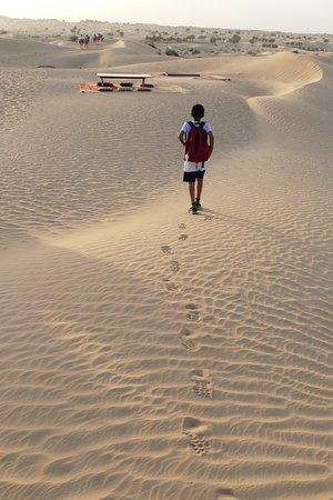 Dubai: Sunset Camel Trek & Red Dunes Safari with BBQ at Al Khayma Camp: Leaving a trail in the desert