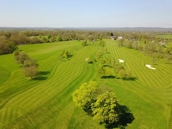 Hever, UK: 1st and 9th hole of the Championship Course from above
