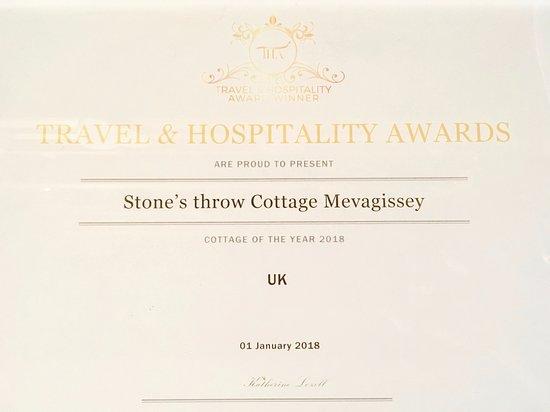 Stone's throw Cottage: Travel & Hospitality Awards - Cottage of the Year 2018