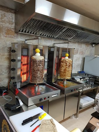 Beef shawarma on the left and chicken shawarma on the right.