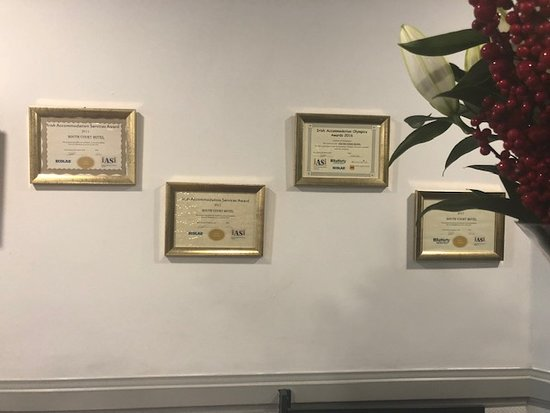 Awards on display at reception area