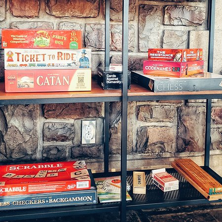 Lots of board games to choose from in the tap room