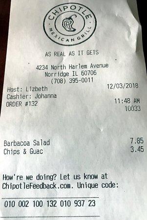 receipt - just a bit over $10.