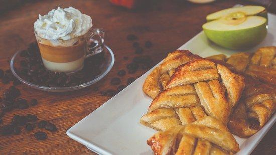 Apple pastries and Café Bon-Bon (condensed milk, evaporated milk, espresso, whipped cream)