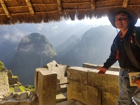 Lorenzo Expeditions: Our guide Wilian explaining to us the history of the wind temple. This was my favorite temple at Macchu Picchu.
