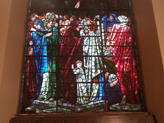 The bottom of the Last Judgment stained glass window by Burne-Jones