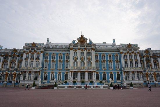 Tsarskoe Selo - Царское Село - Parte central da Fachada do Palácio de Catarina em Pushkin -