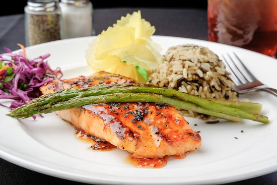 Larry B's Rhythm Room featuring Hazel's Gourmet Chicken and Waffles: Sesame Ginger Salmon