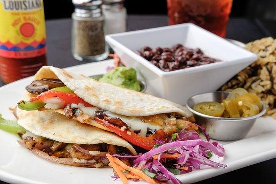 Larry B's Rhythm Room featuring Hazel's Gourmet Chicken and Waffles: Vegan - Mushroom & Eggplant Fajitas