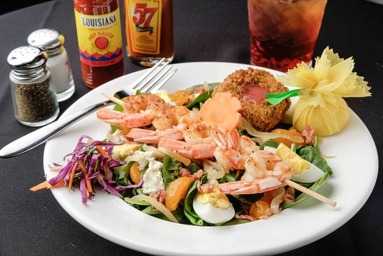 Larry B's Rhythm Room featuring Hazel's Gourmet Chicken and Waffles: Spinach & Shrimp Salad -