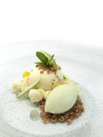 Apple & white chocolate entremet, oat crumb, apple sorbet