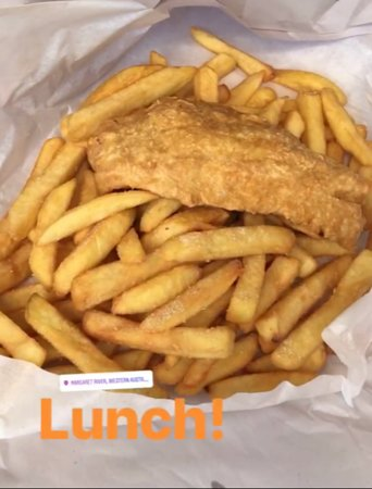 Fish vs Chips - pretty big difference on portion. Hot and freshly fried.