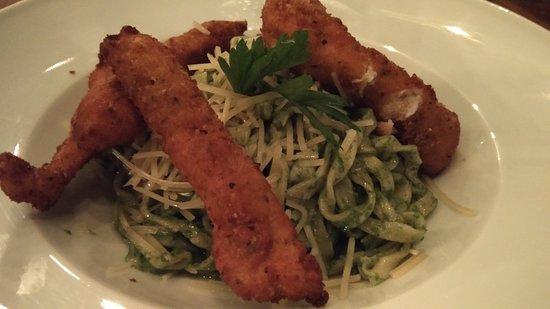Pasta with cilantro-pesto... Yummy