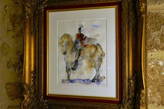 Knight in armor and red cloak on white horse. Watercolors, 2014, by Maria Ioannou.