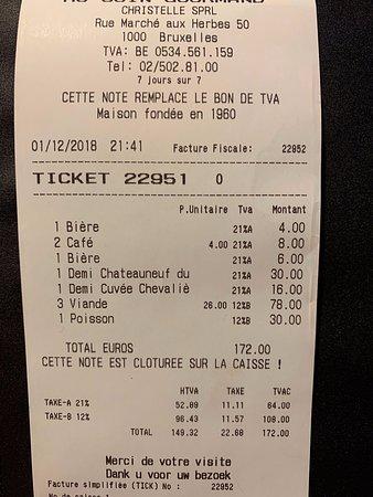 Facture pour quatre personnes (apéritifs, plats, vins et cafés)