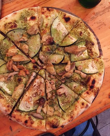 By Hand Pizza Cafe: Green vegan (with capers swapped out for artichoke)