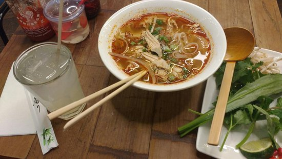Hot and spicy chicken pho, with home made lemonade