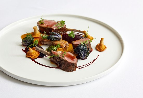 Marcus: Herdwick lamb (rack, loin, confit belly), heritage beetroot, girolles