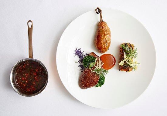 Marcus: Roast squab pigeon, glazed heritage carrot, savoy cabbage