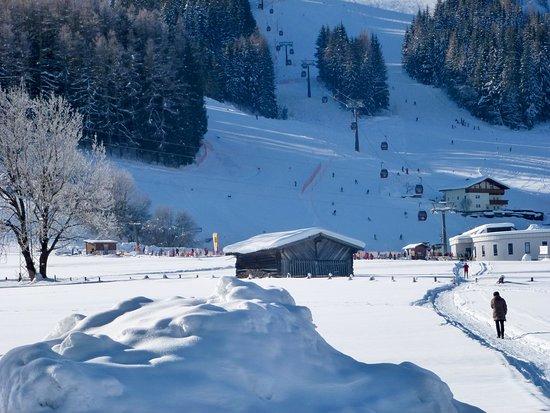 Nur 400 m über ein Feld zu den Liften. Only 400 m to the ski-lifts, via a field path.