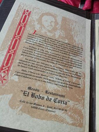 El Bobo de Coria: menu1
